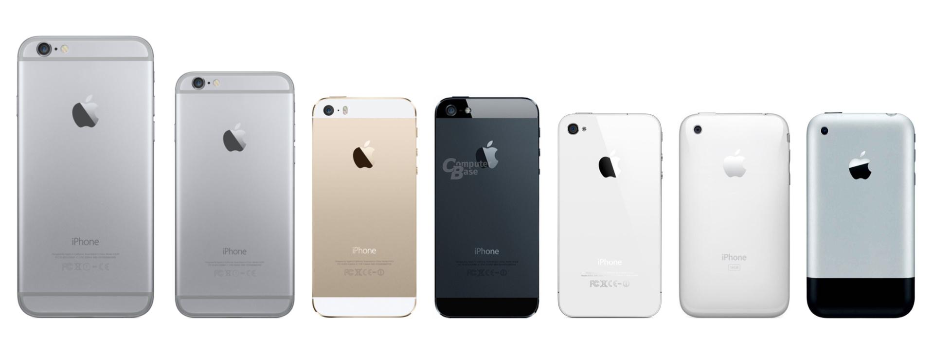 v.l.n.r.: iPhone 6 (Plus), 5S, 5, 4S/4, 3GS/3G und iPhone (Rückseite)
