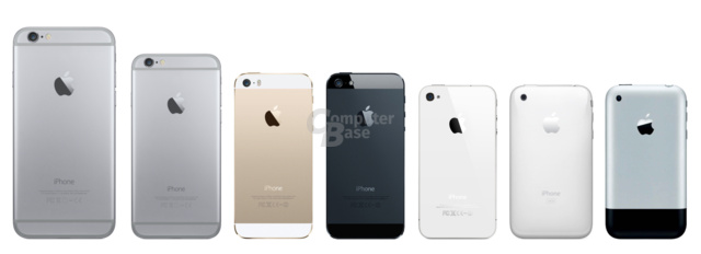 v.l.n.r.: iPhone 6 (Plus), 5S, 5, 4S/4, 3GS/3G und iPhone (Rückseite)