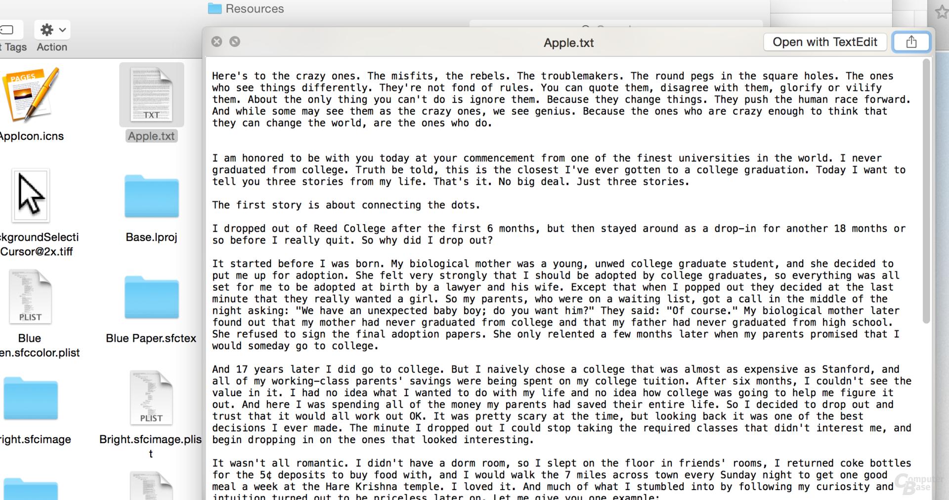Steve Jobs Rede vor Studenten in Pages