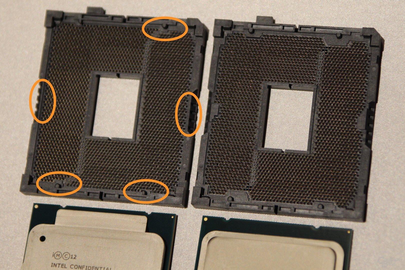 Asus OC Sockel (links) und normaler Sockel (rechts)