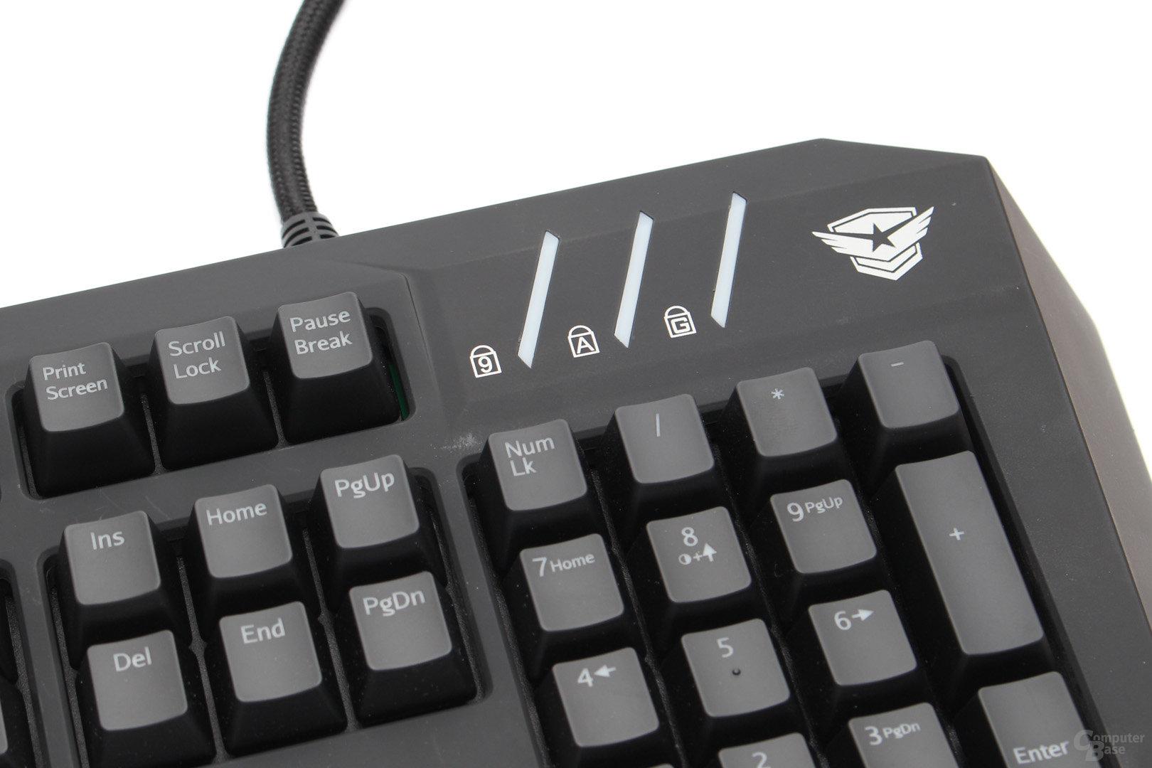Status-LEDs für Nummernblock, Caps-Lock und Gaming-Modus