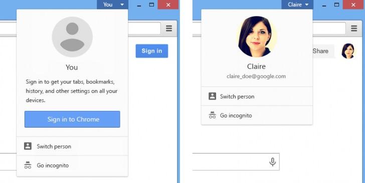 Google Chrome 38 Beta - Profilwechsel