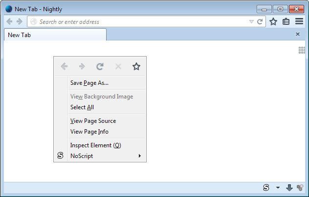Firefox 32 Kontext-Menü