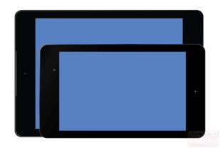 Nexus 9 mit Tastatur-Cover und hinter Nexus 7