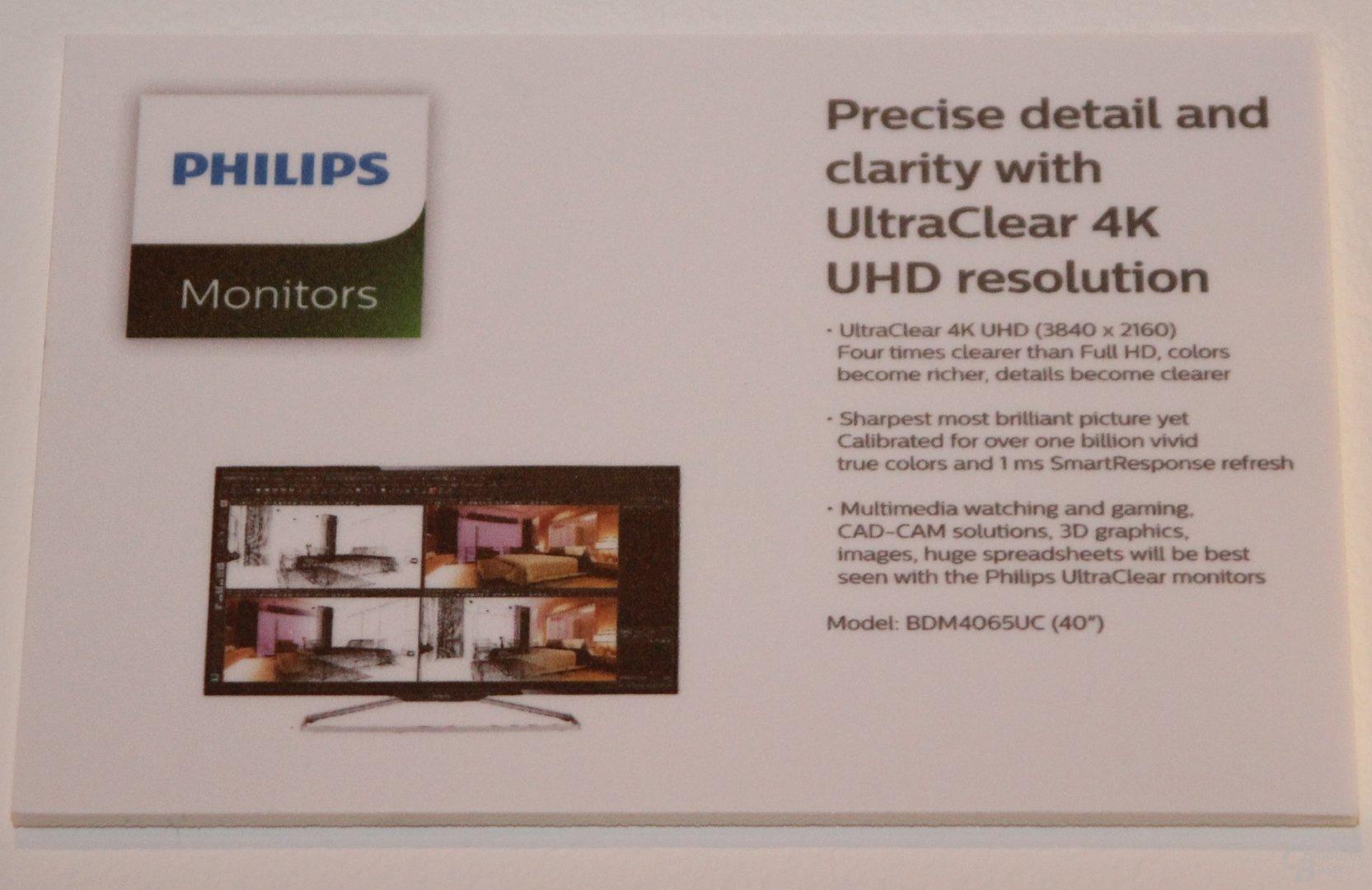 Philips BDM4065UC (40 Zoll) mit 3.840 x 2.160 Pixeln