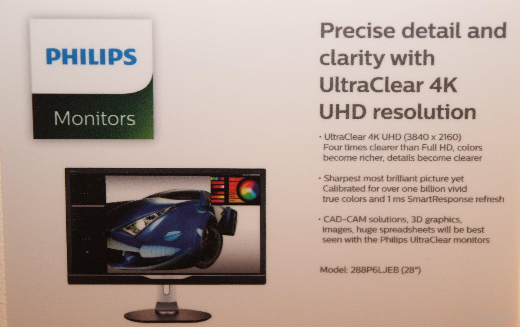 Philips 288P6LJEB mit 3.840 x 2.160 auf 28 Zoll