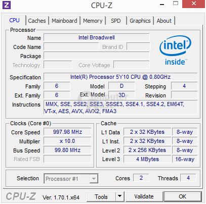 Intel Core M 5Y10 – CPU