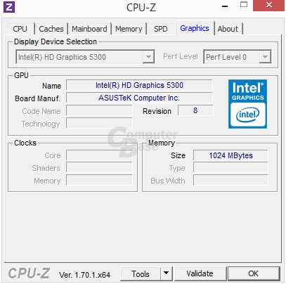Intel Core M 5Y10 mit Intel Graphics HD 5300