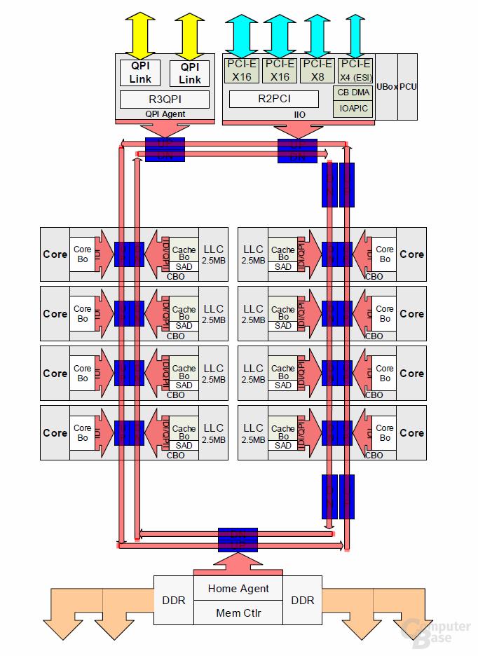 LCC-Die für 4 bis 8 Kerne