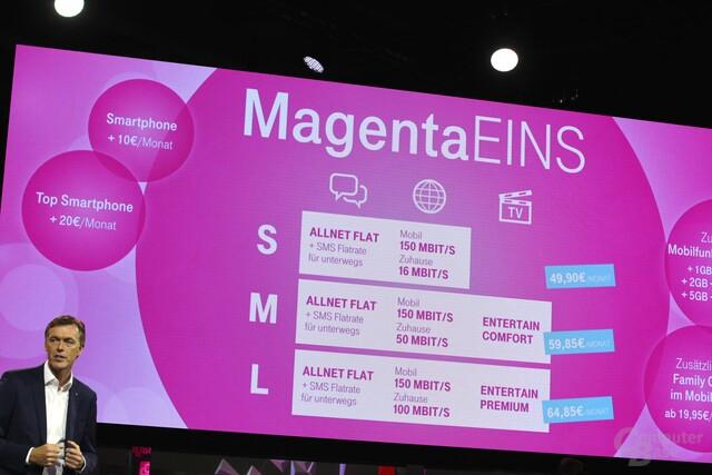 Die neuen Magenta-Eins-Tarife kombinieren Mobilfunk, Festnetz und IPTV