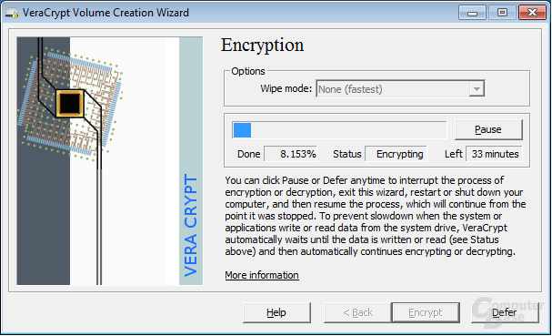 VeraCrypt on the fly encrypting the system partition