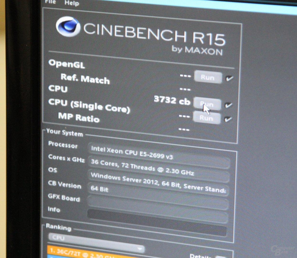 Cinebench R15 mit 72 Threads