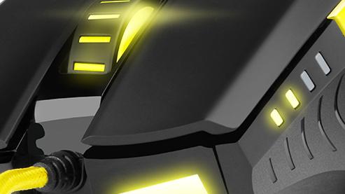 Shark Zone M20: Gelbe Spielermaus mit optischem Sensor und neun Tasten