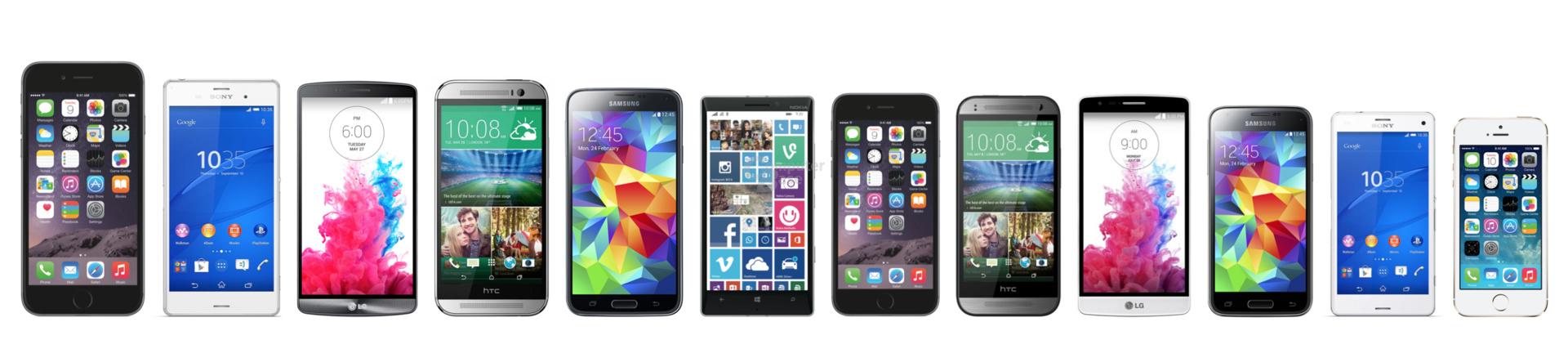 Das iPhone 6 Plus steht über allen, das iPhone 6 zwischen den Fronten