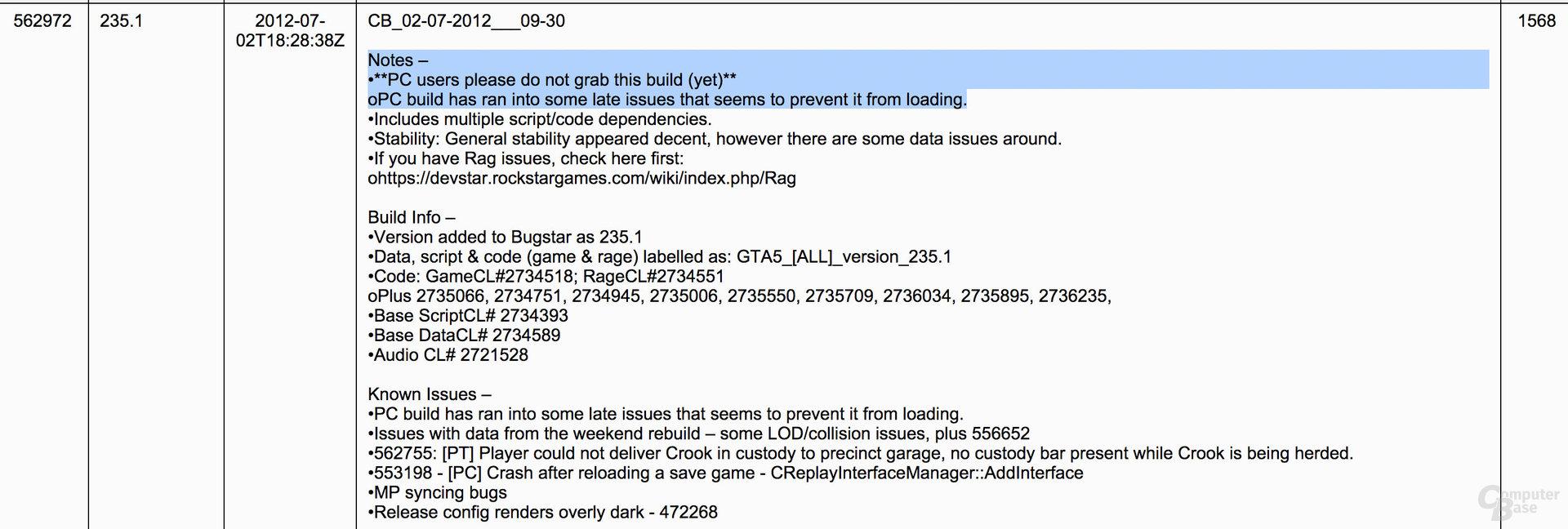 Auszug aus den vermutlich echten Logs zu GTA V für den PC