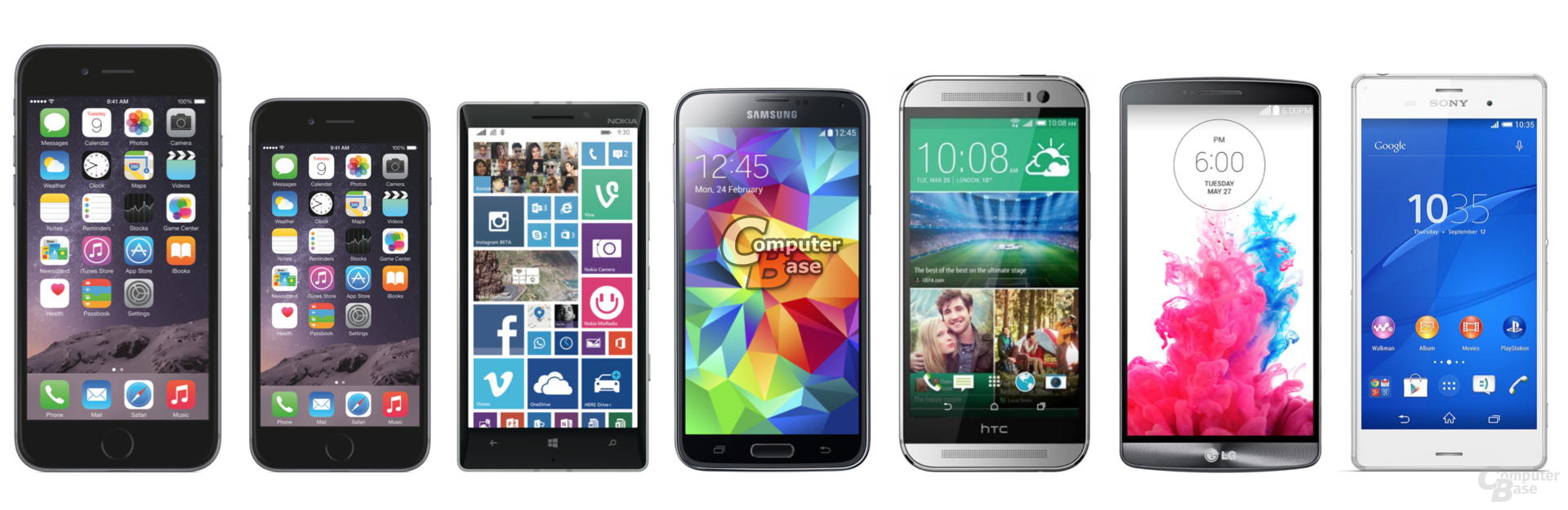 v.l.n.r.: iPhone 6 (Plus), Lumia 930, Galaxy S5, HTC One (M8), G3, Xperia Z3