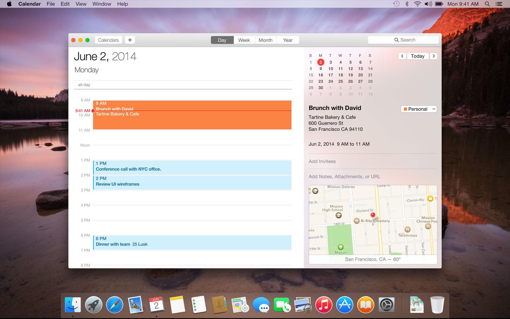 Neue Kalenderansicht in OS X 10.10