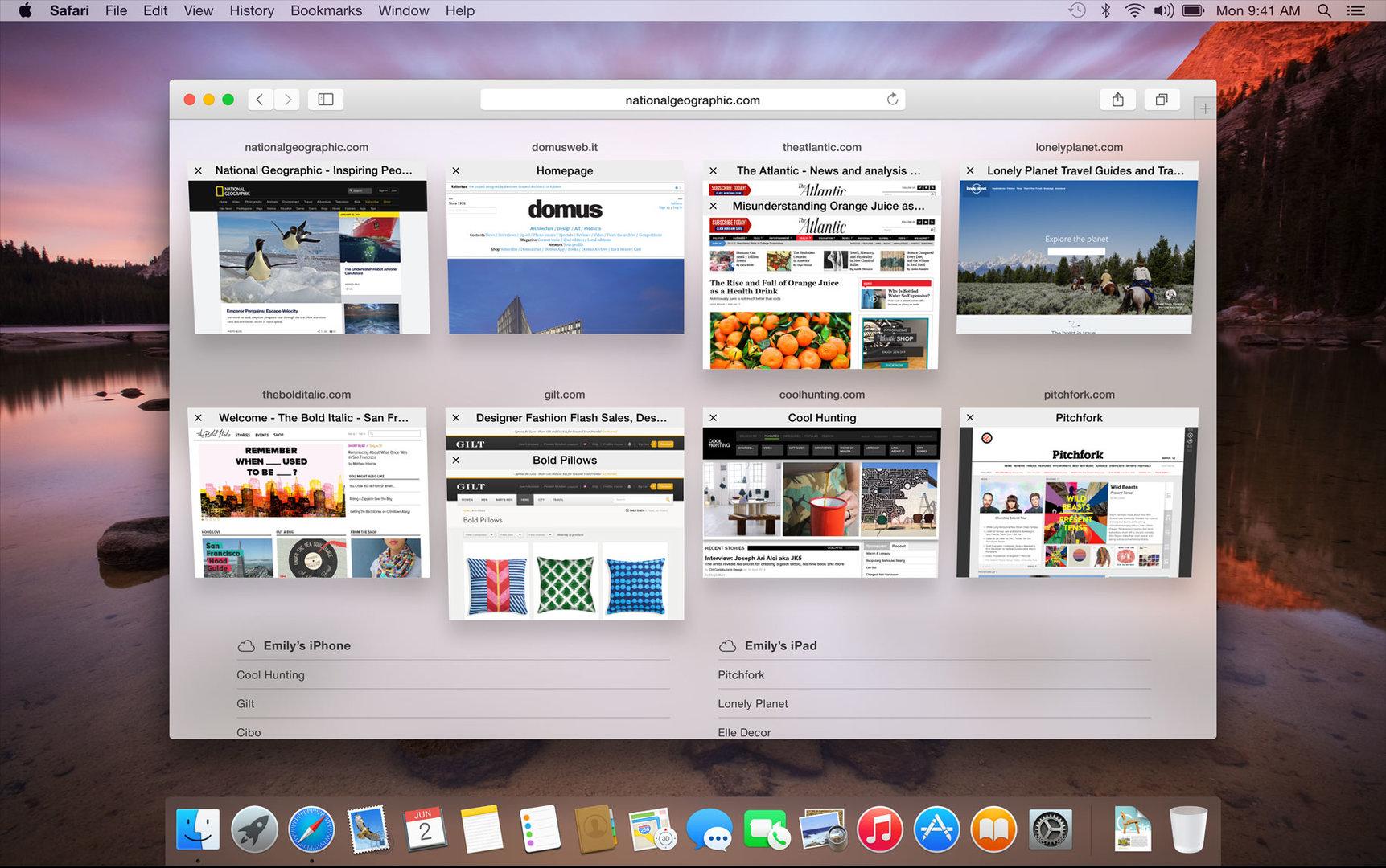 Tabs in Safari unter OS X 10.10