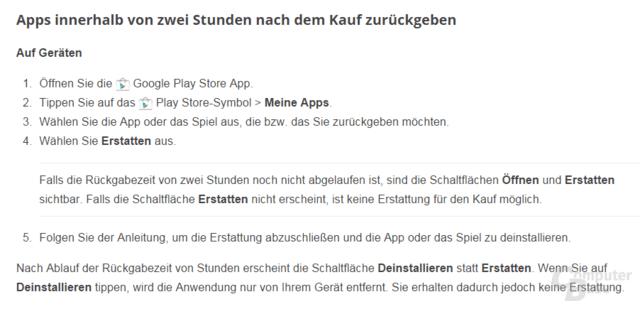 Google Play: App-Rückgabezeit auf zwei Stunden verlängert