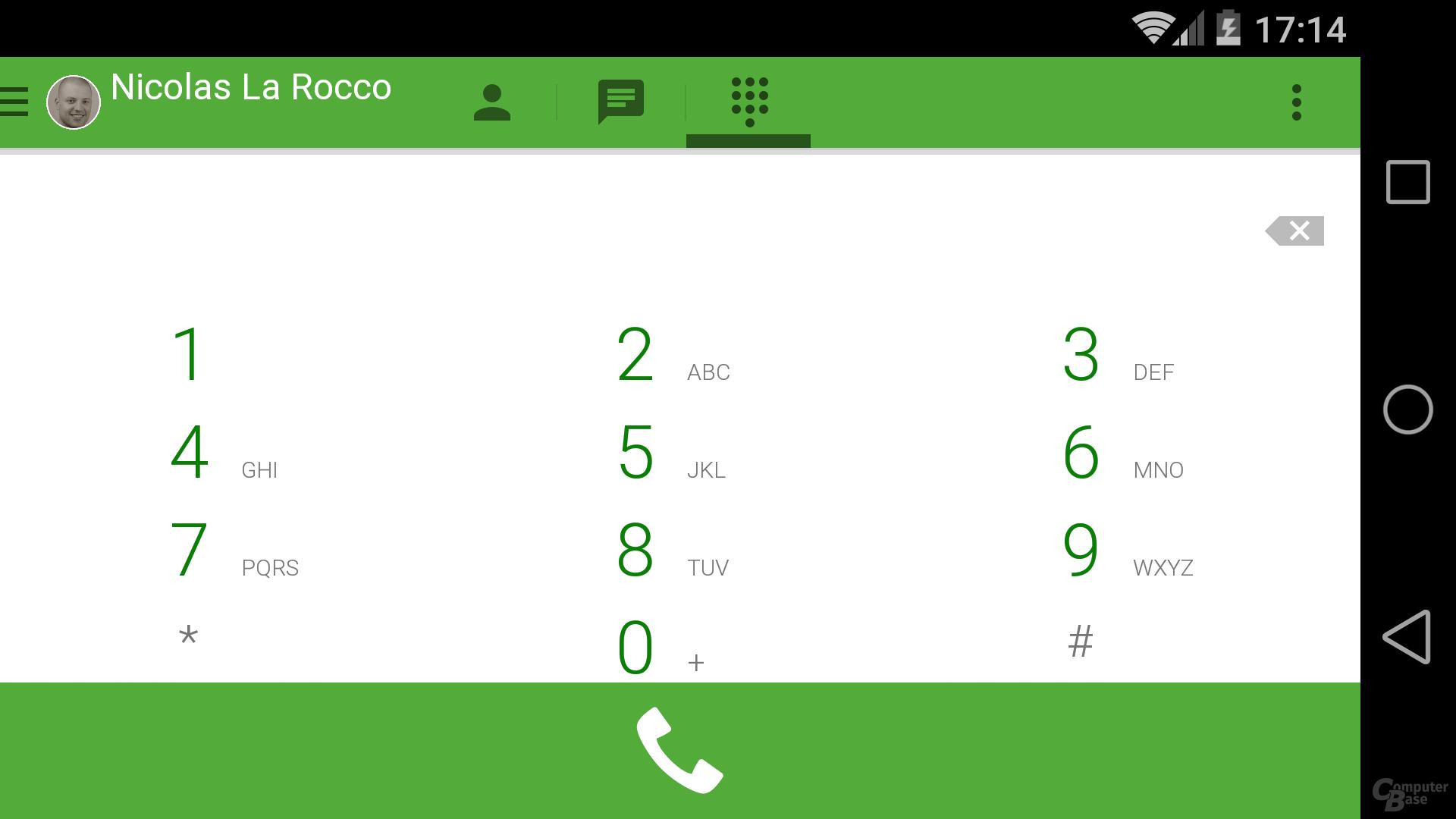 Wählfeld in Google Hangouts 2.3 für Android