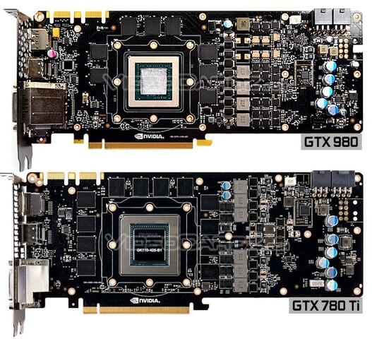 PCB von GeForce GTX 980 und GeForce GTX 780 Ti im Vergleich