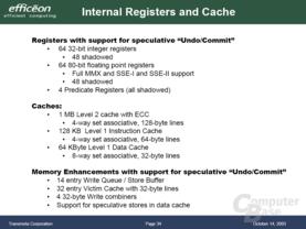 Transmeta Efficeon Registers und Cache