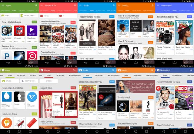 Google Play Store (neu oben/aktuell unten)