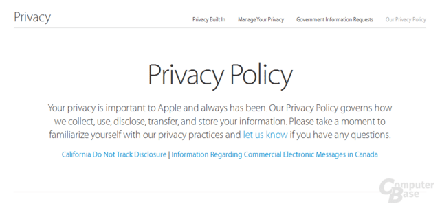 Apple Privacy Webseite
