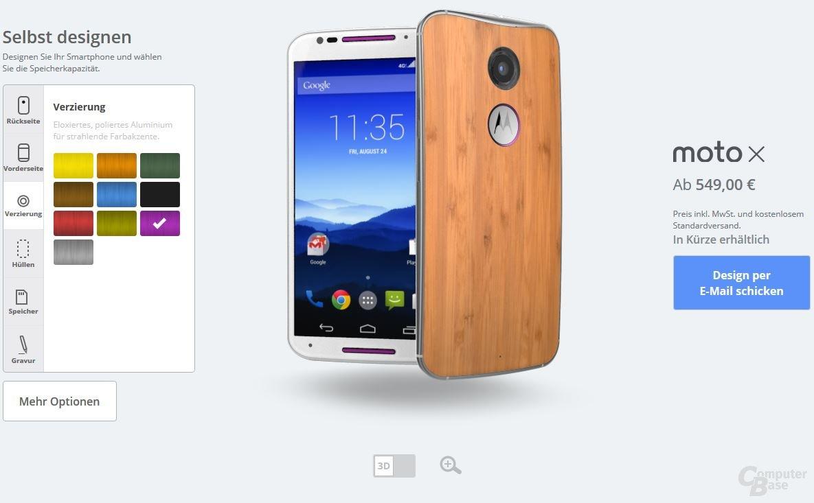 Motorola Moto X – Verzierungen