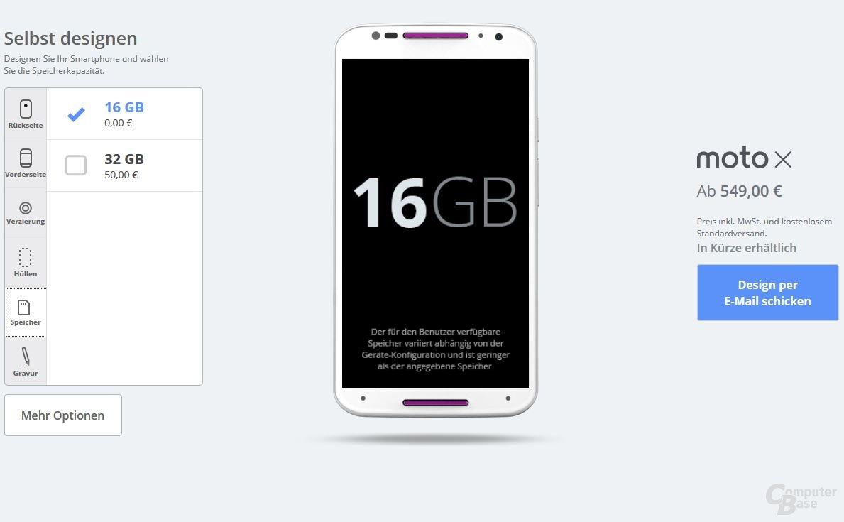 Motorola Moto X – Speicher