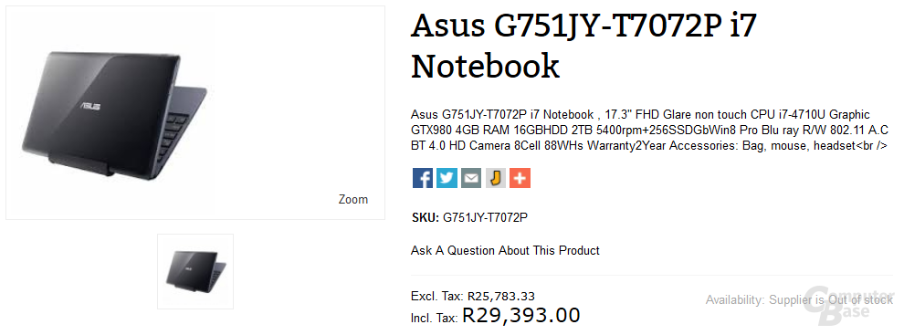 Asus-Notebook mit GTX 980M bei Händler gelistet