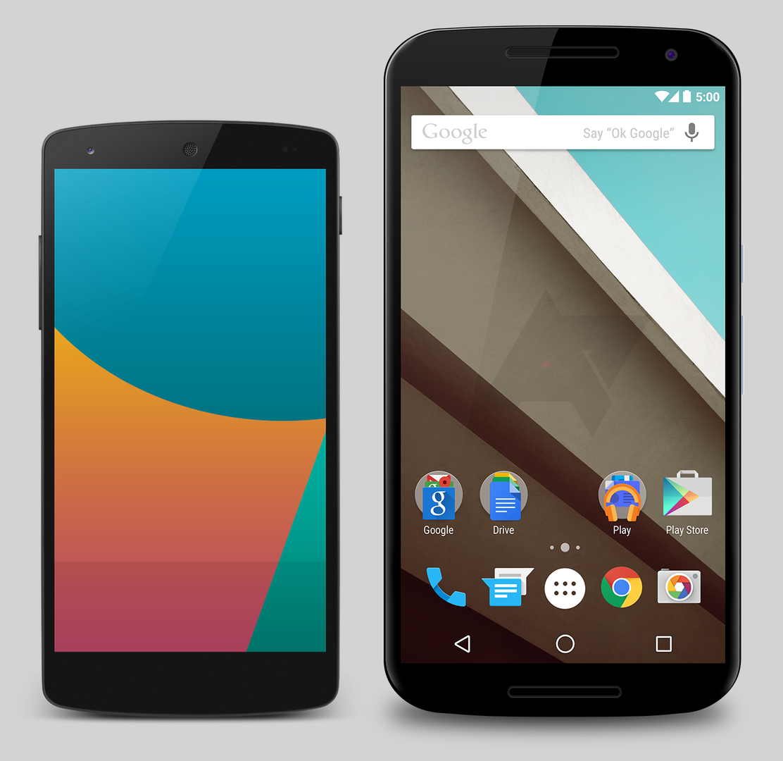 Größenvergleich: Nexus 5 gegen Nexus 6
