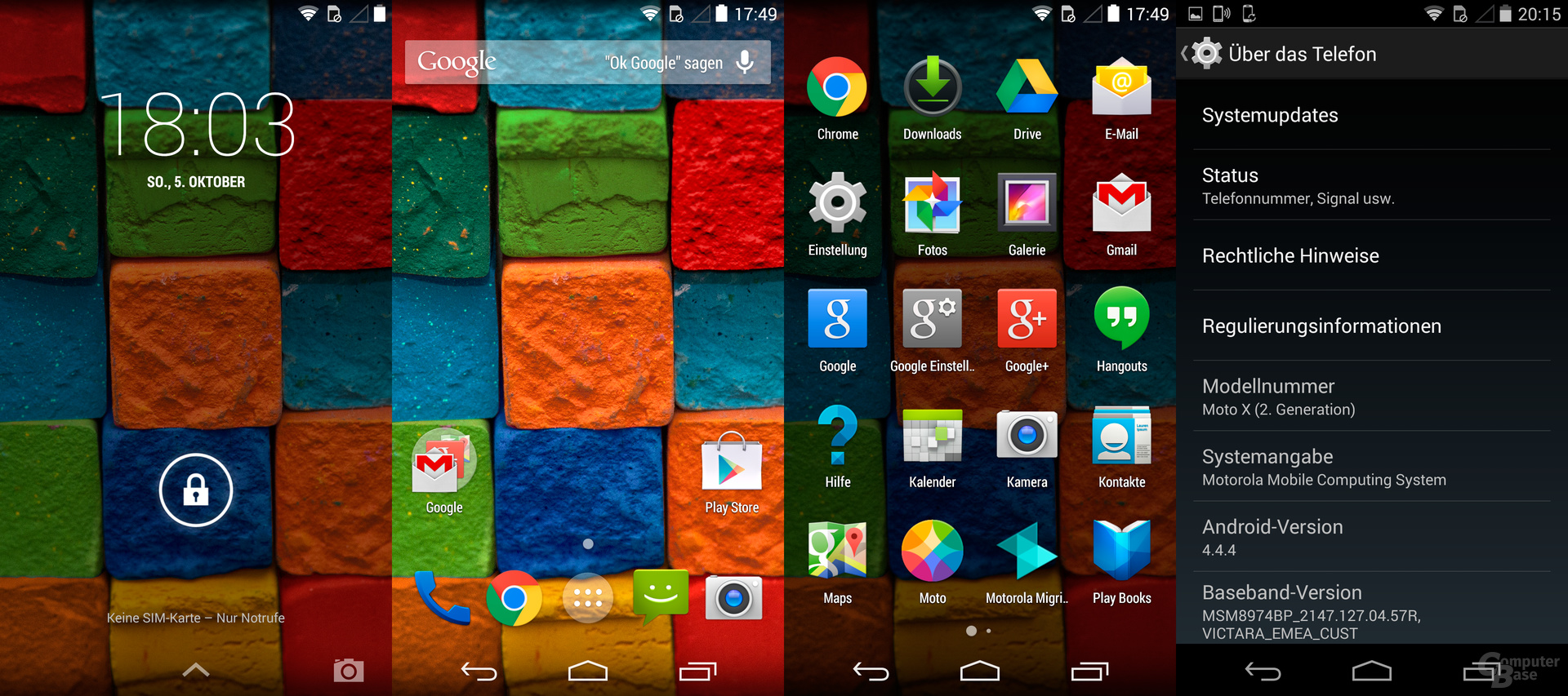 Lock- und Homescreen, App-Drawer und Systeminformationen