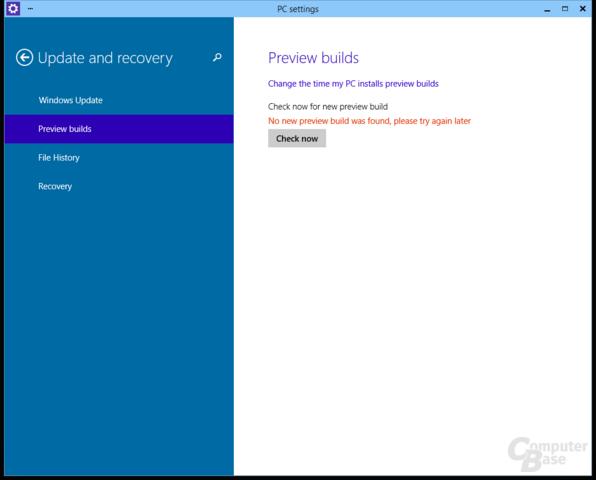 Wann die Preview Updates erhält, kann der Anwender wählen