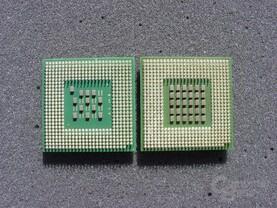 Pentium 4 3.2 GHz links, Pentium 4 EE rechts