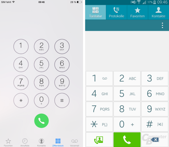 Telefon-App des des Apple iPhone 6 Plus und Samsung Galaxy Note 4