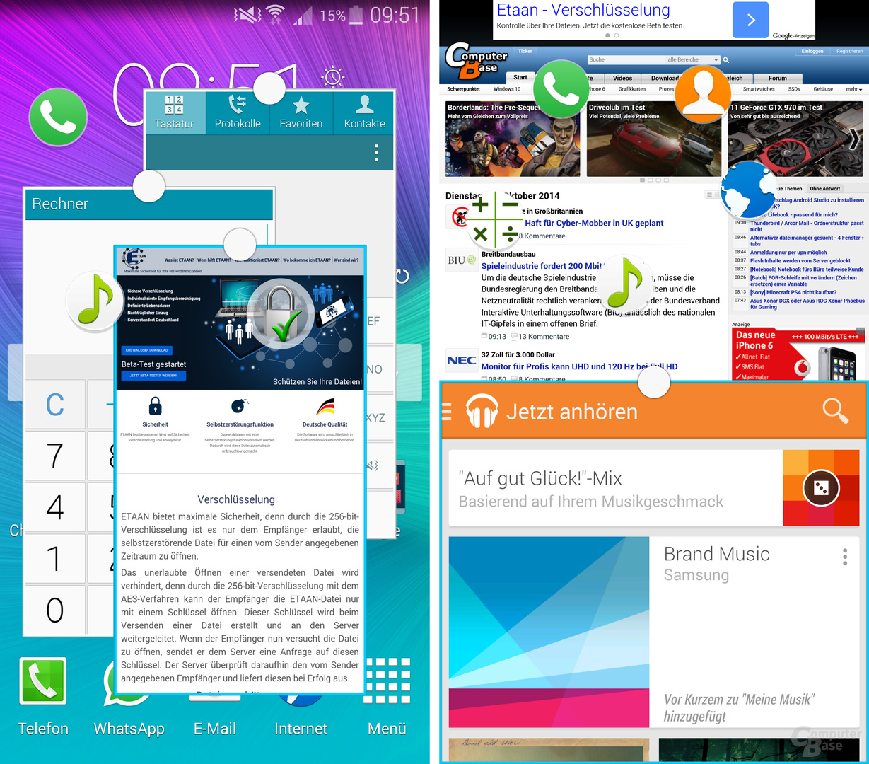 Multitasking auf dem Samsung Galaxy Note 4