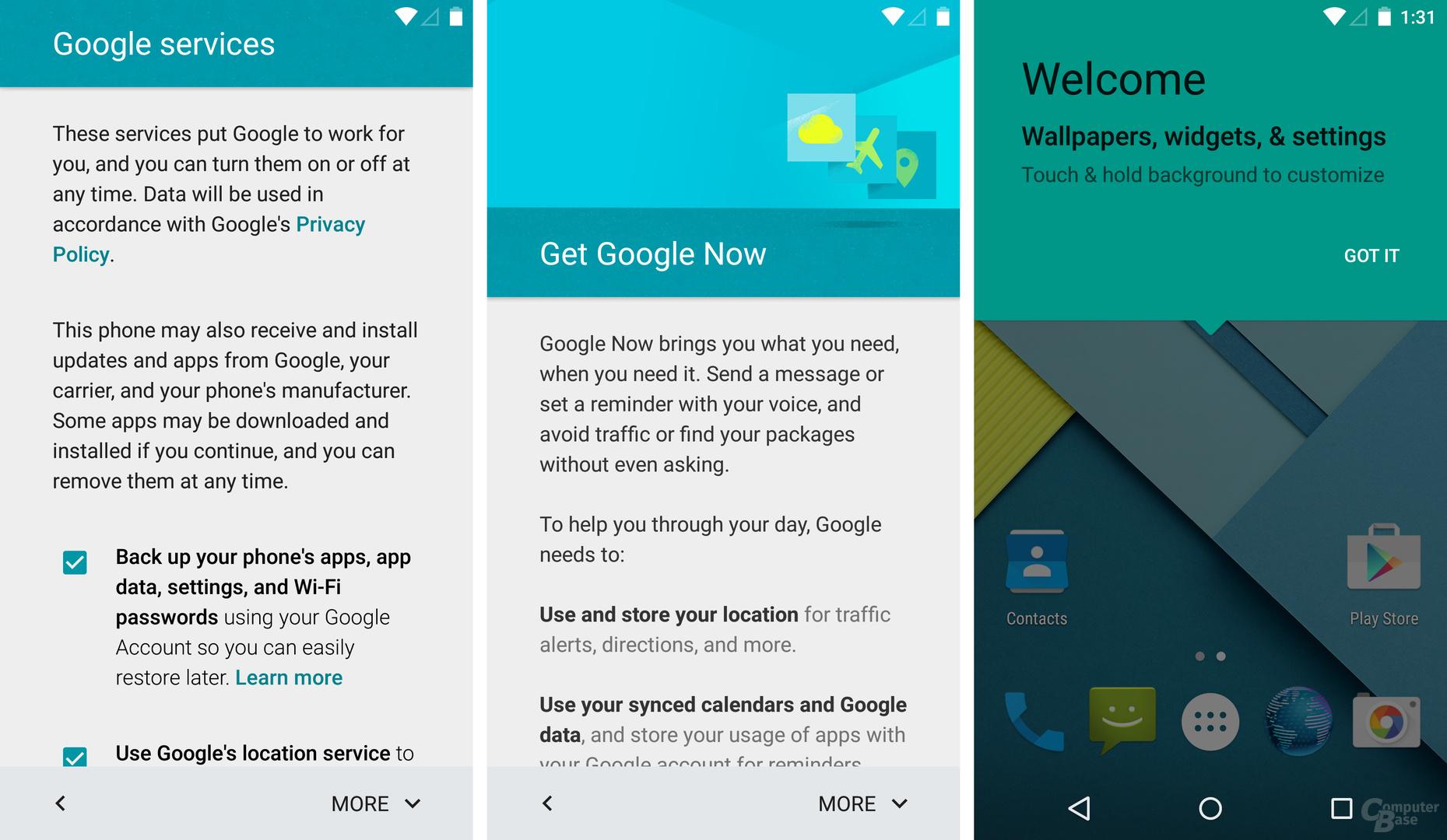 Google Services, Google Now, Willkommensbildschirm
