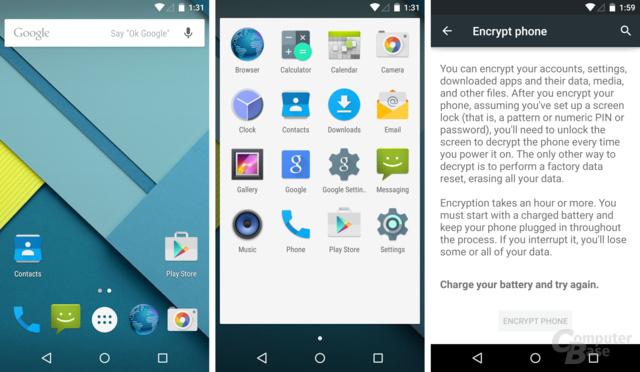 Homescreen, App-Drawer, Verschlüsselung