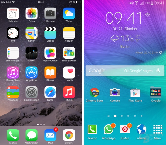 iOS 8 / TouchWiz – Homescreen