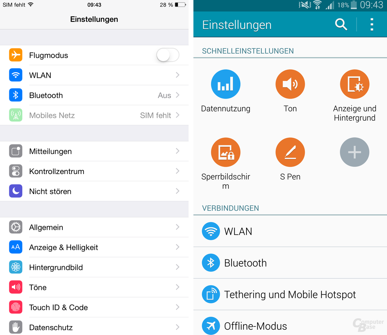 iOS 8 / TouchWiz – Einstellungen