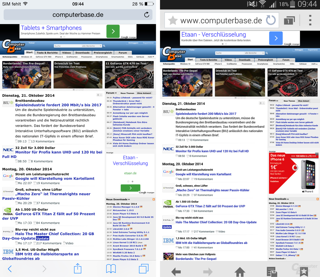 iOS 8 / TouchWiz – Browser