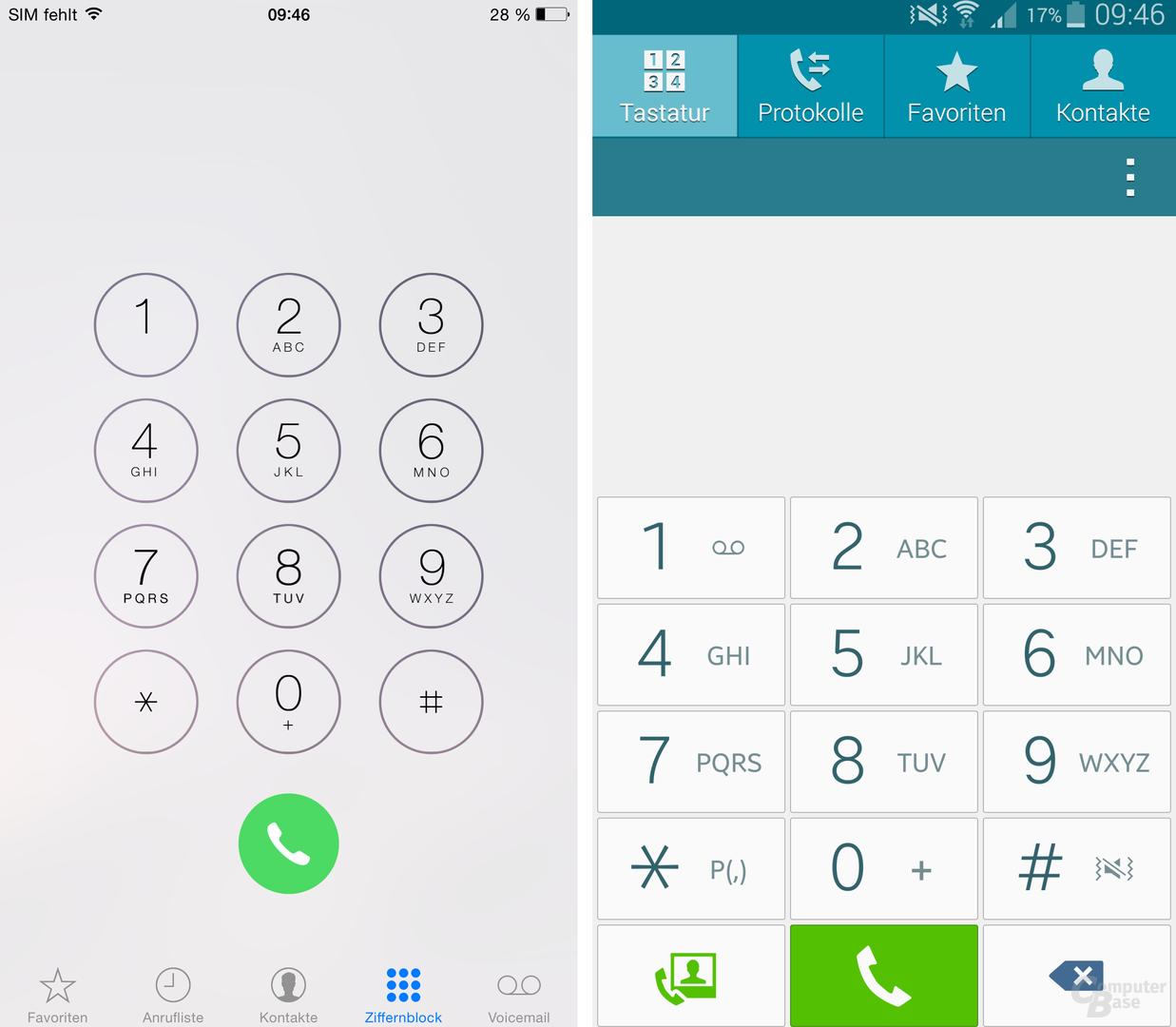 iOS 8 / TouchWiz – Telefon-App