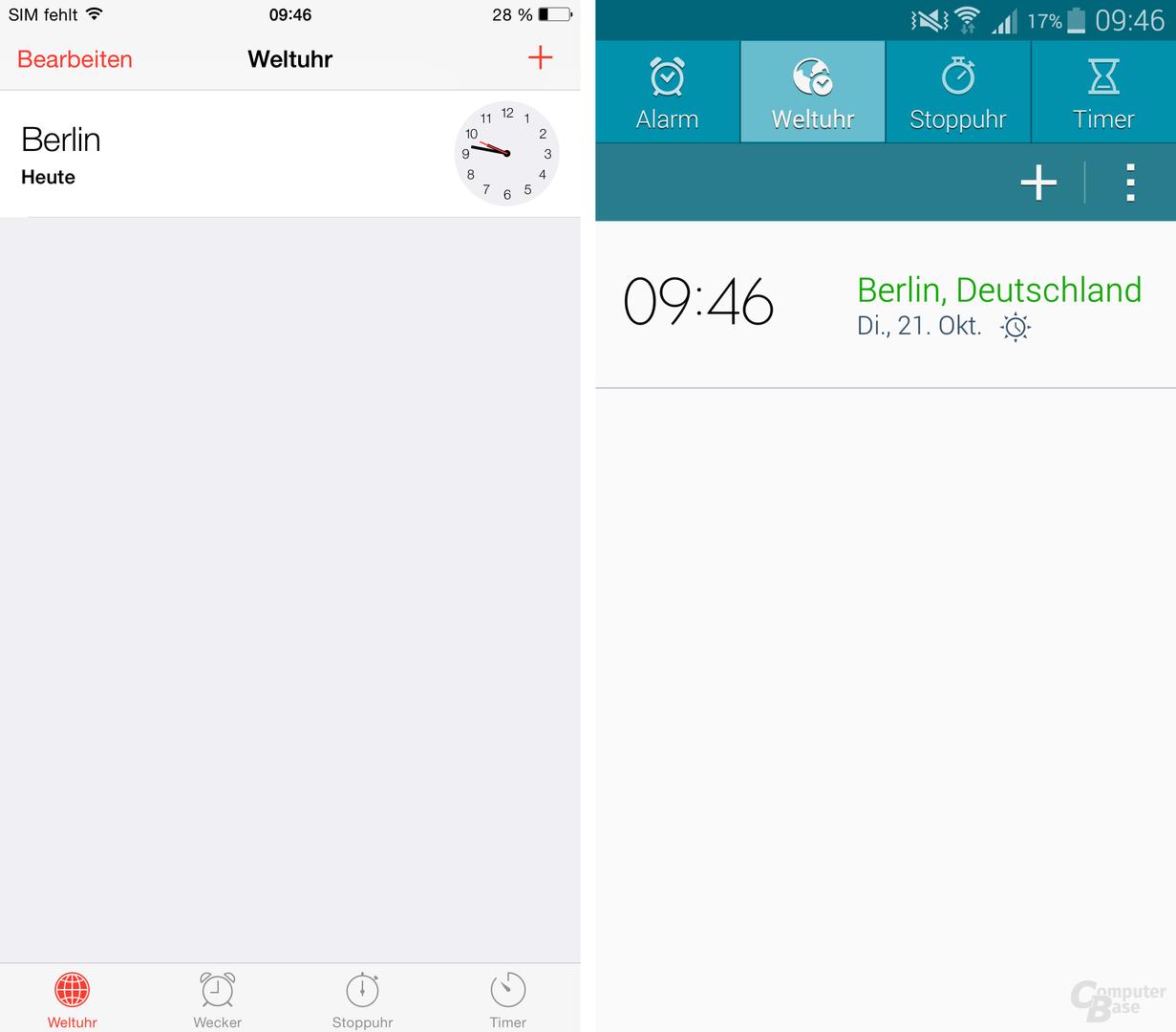 iOS 8 / TouchWiz – Uhr