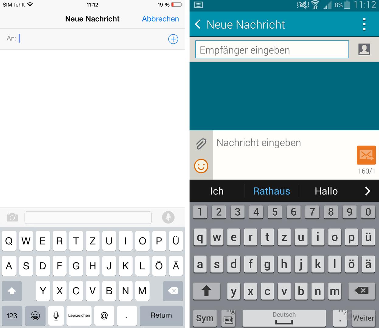 iOS 8 / TouchWiz – Tastatur