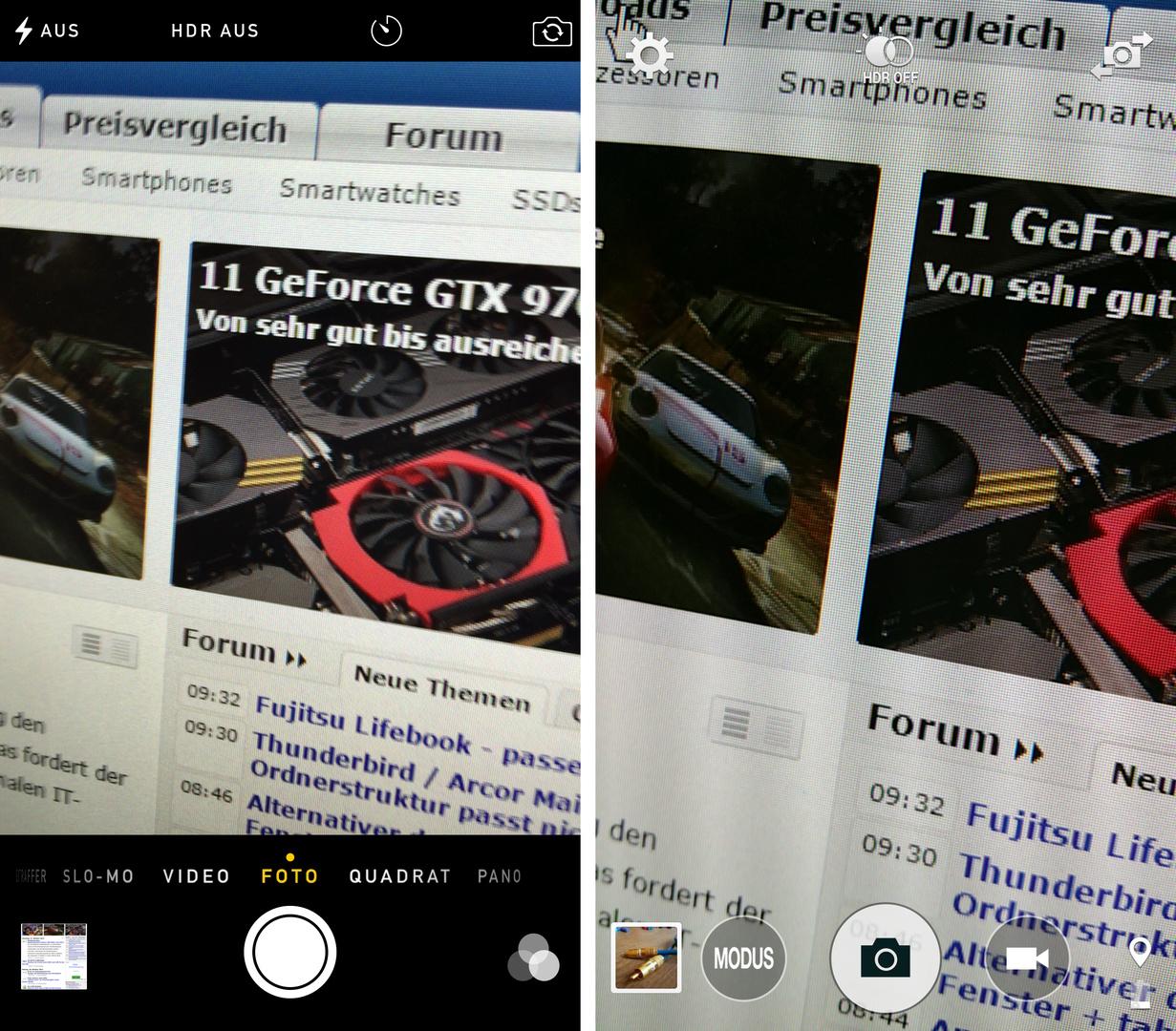 iOS 8 / TouchWiz – Kamera-App