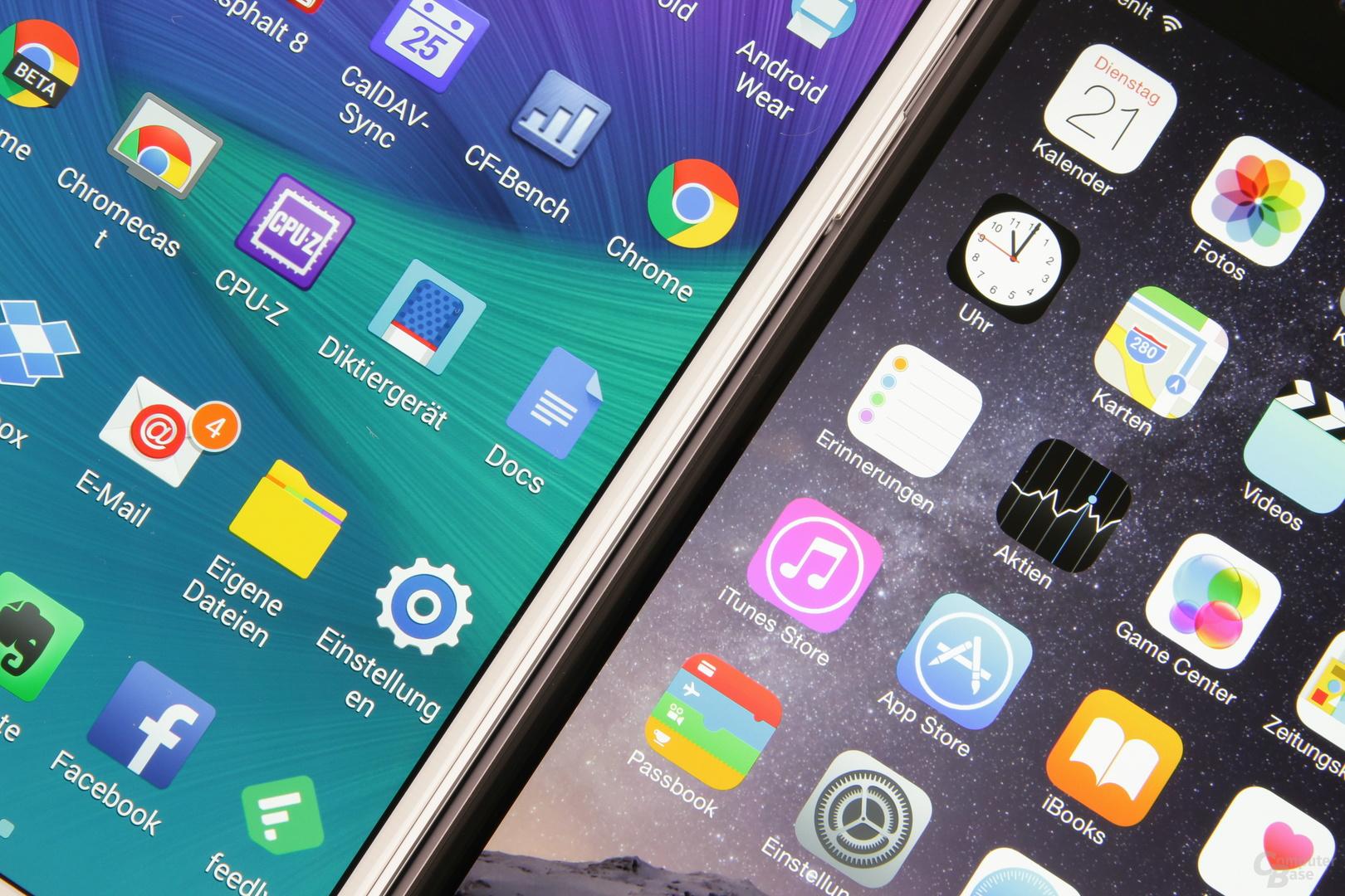 Das Galaxy Note 4 kommt auf 515 ppi, das iPhone 6 Plus auf 401 ppi