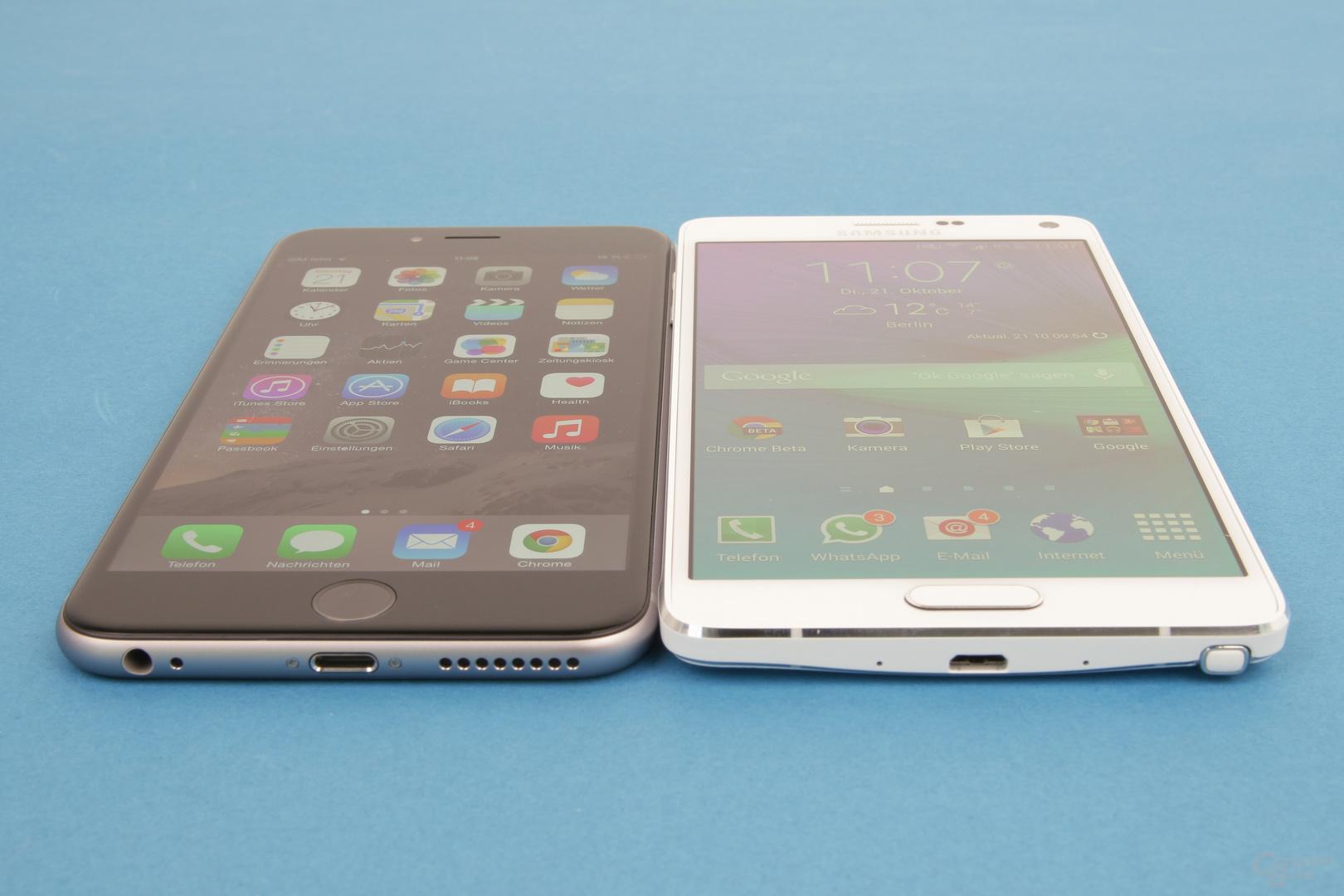 Die Blickwinkelstabilität ist beim iPhone 6 Plus besser als beim Galaxy Note 4