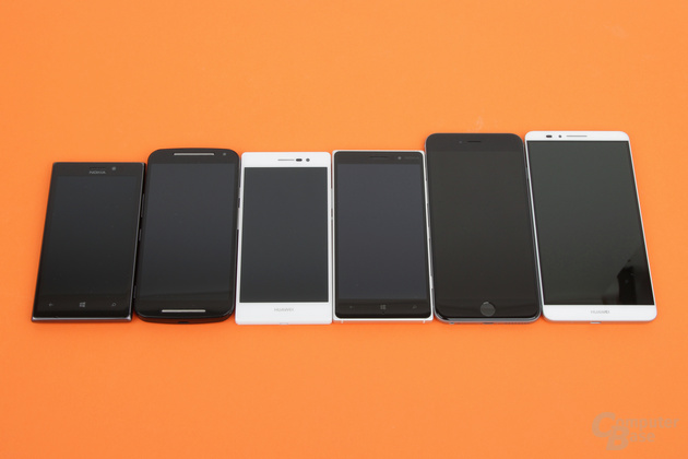 Größenvergleich: Nokia Lumia 925, Motorola Moto G, Huawei Ascend P7, Nokia Lumia 830, Apple iPhone 6 Plus, Huawei Ascend Mate 7