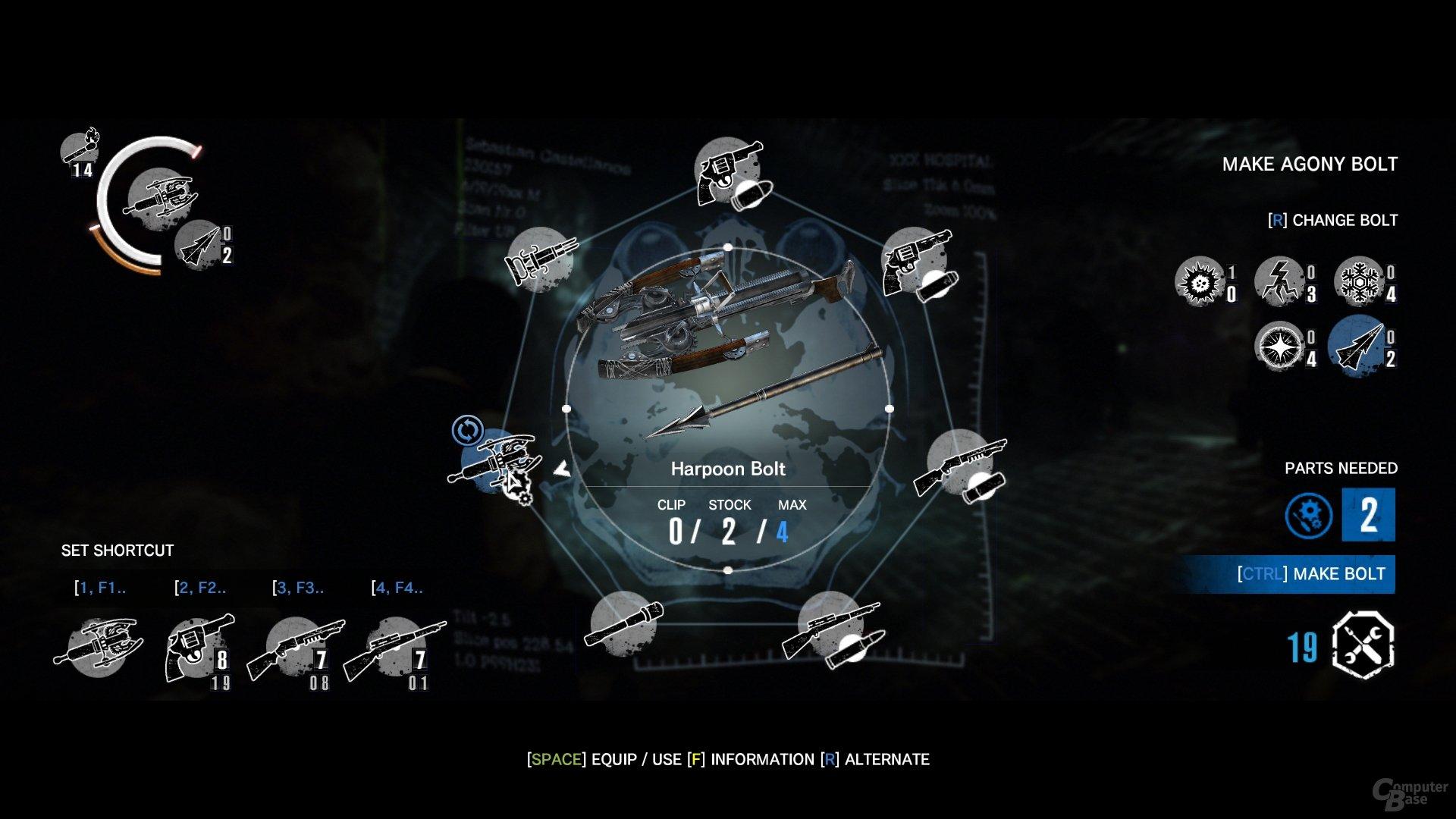"""Die fünf unterschiedlichen Bolzentypen stellen das komplette """"Craftingsystem"""" des Spiels dar"""